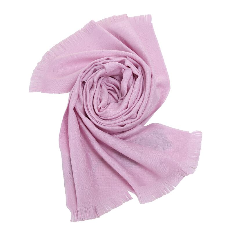 GUCCI/古驰 双G提花图案流苏边针织女士羊毛围巾 粉色133483-3G200-5900