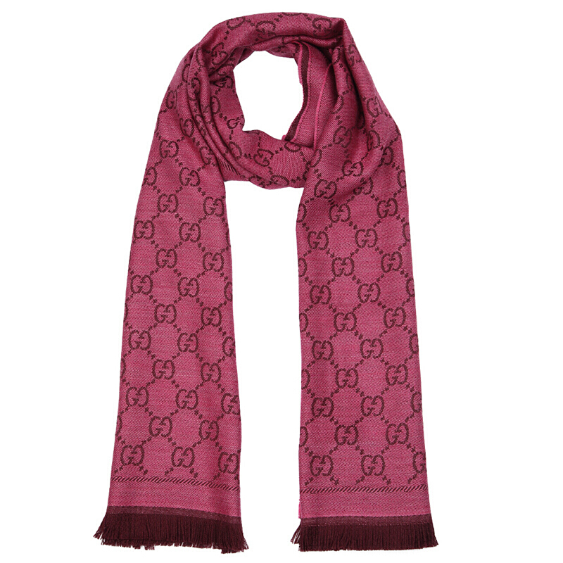 GUCCI/古驰 双G提花图案流苏边针织女士羊毛围巾 玫红色133483-3G200-5573