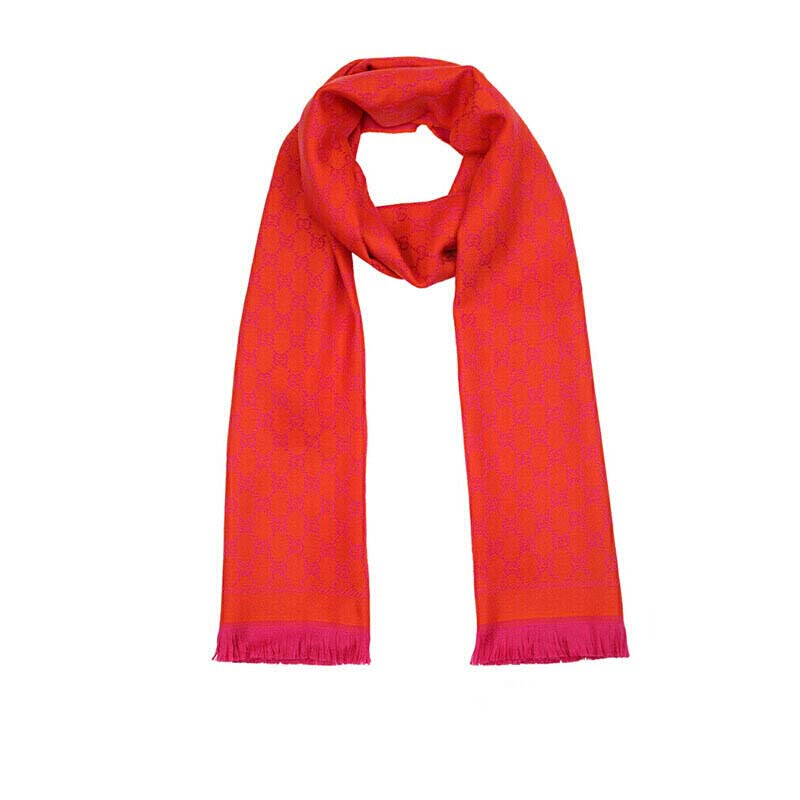 GUCCI 古驰 橙红色流苏双G织花羊毛围巾 411115-3G200-7572