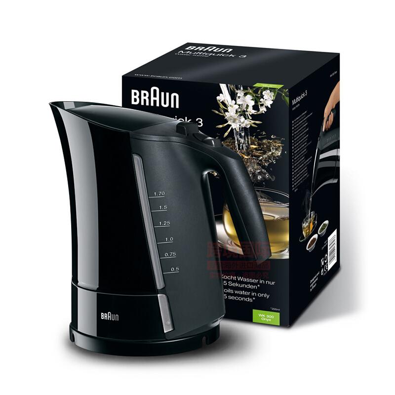 博朗(Braun)电热水壶 家用自动断电快速烧开1.7升大容量WK300
